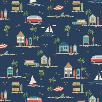 Offshore 2 Main Navy Beach Hut Camper Coastal Nautical Beachhut Surfboard Sailing Surfing Cotton Fabric
