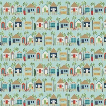 Offshore 2 Hut Blue Beach Hut Bicycle Coastal Beachhut Surfboard Bike Surfing Cotton Fabric