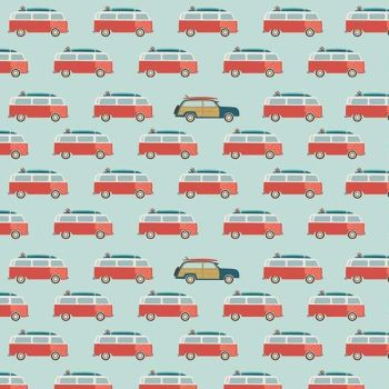 Offshore 2 Wagon Blue Camper Van Woodie Surfboard Surfing Cars Campers Aqua Cotton Fabric