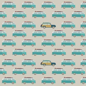 Offshore 2 Wagon Tan Camper Van Woodie Surfboard Surfing Cars Campers Cotton Fabric
