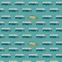 Offshore 2 Wagon Teal Camper Van Woodie Surfboard Surfing Cars Campers Cotton Fabric