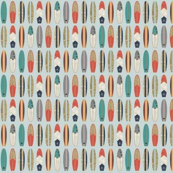 REMNANT 25cm Offshore 2 Surfboard Blue Surfboards Surfing Surf Board Aqua Cotton Fabric