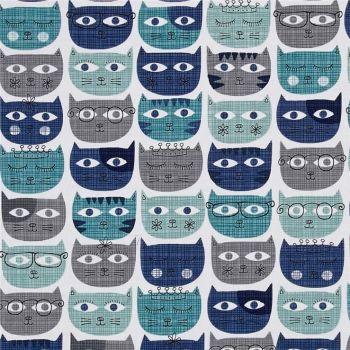 Cat Sassy Cats Faces Michael Miller Blue Aqua Grey Kitty Princess Cotton Fabric