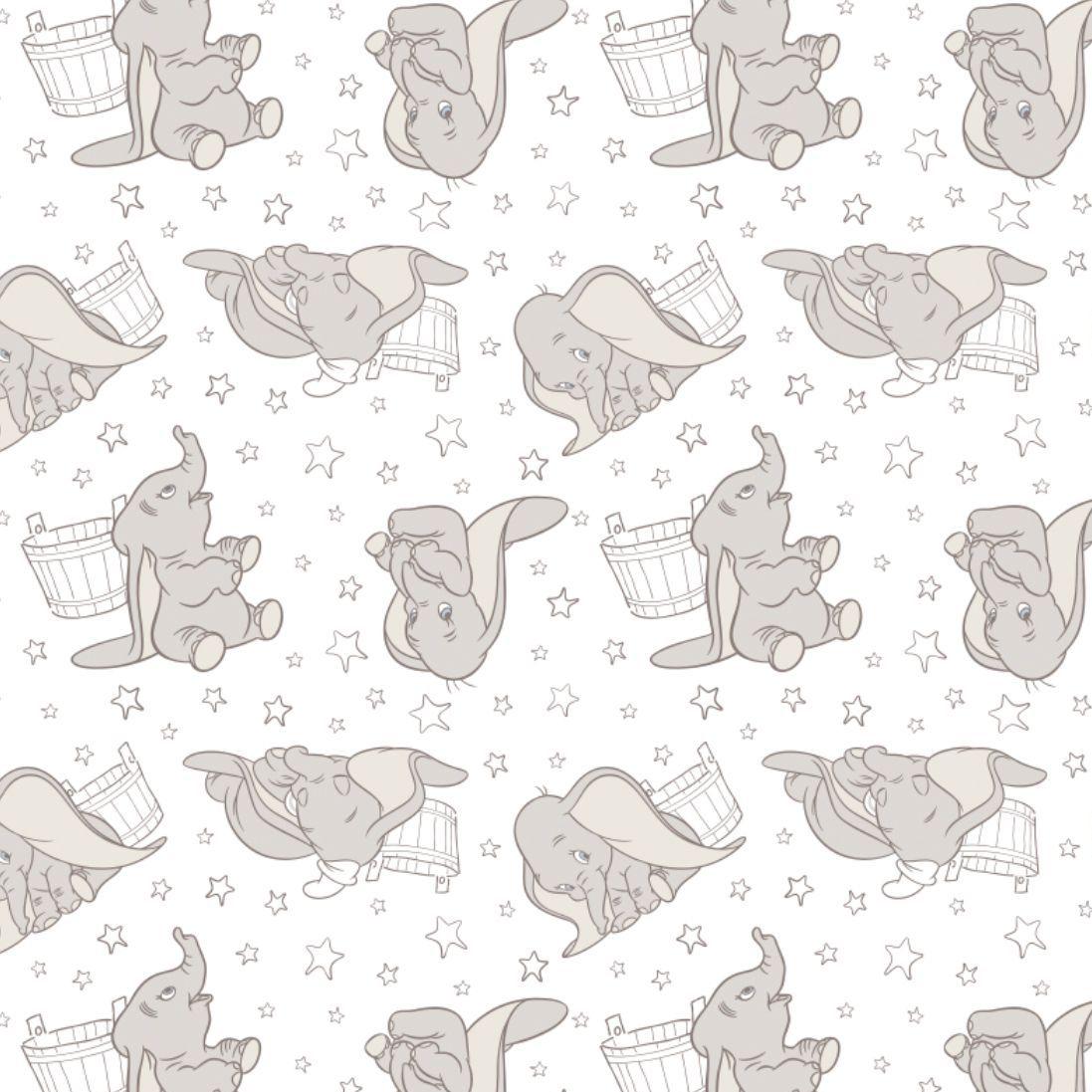Disney Classics Dumbo Stars in Dark Taupe Sketch Low Volume Baby Elephant N
