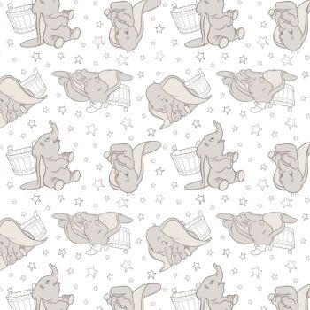Disney Classics Dumbo Stars in Dark Taupe Sketch Low Volume Baby Elephant Nursery Grey Cotton Fabric