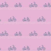 Seaside Carnival Boardwalk Bikes Crocus Tiny Bicycle Mini Biking Pink Cycling Cotton Fabric