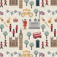 Royal Britannia on Cream Scenic London Crown Soldier British Big Ben Bus Landmark Cotton Fabric