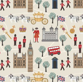 Royal Britannia on Cream Scenic London Crown Soldier British Big Ben Bus Landmark Cotton Fabric