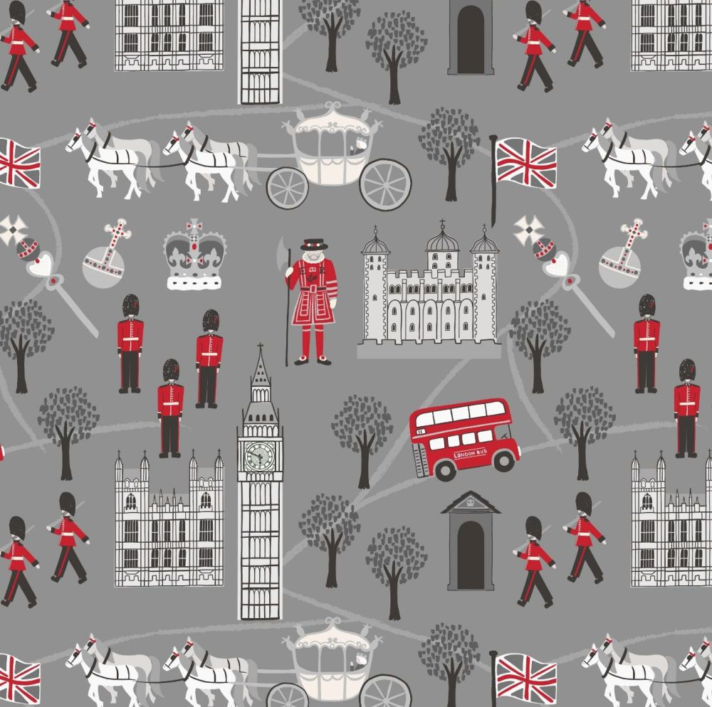 Royal Brittania on Grey Monochrome Scenic London Crown Soldier British Big