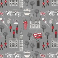 Royal Britannia on Grey Monochrome Scenic London Crown Soldier British Big Ben Bus Landmark Cotton Fabric