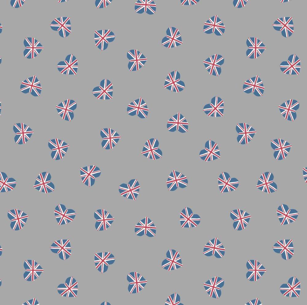 Brittania Union Jack Hearts on Grey Flag British UK Heart Cotton Fabric