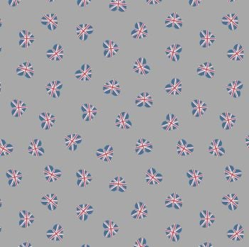 Britannia Union Jack Hearts on Grey Flag British UK Heart Cotton Fabric