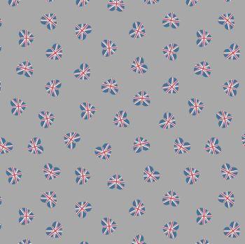 Britannia Union Jack Hearts on Grey Flag British UK Heart Cotton Fabric
