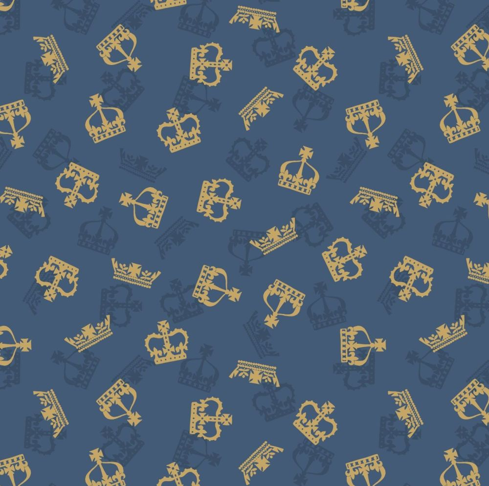 Brittania Crowns Royal Metallic Gold on Dark Blue Crown Cotton Fabric