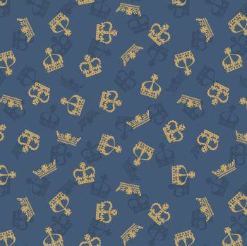 Britannia Crowns Royal Metallic Gold on Dark Blue Crown Cotton Fabric