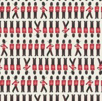 Britannia Soldiers on Cream Royal Queen's Guard Soldier Marching Cotton Fabric
