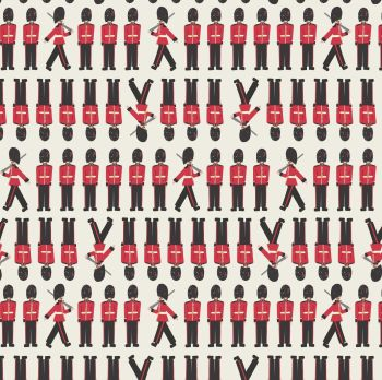 Brittania Soldiers on Cream Royal Queen's Guard Soldier Marching Cotton Fabric