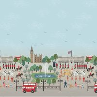 Britannia on Blue Scenic Double Border Print Panel London Crown Soldier British Big Ben Bus Landmark Cotton Fabric