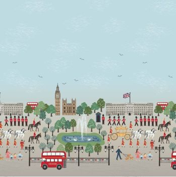 Brittania on Blue Scenic Double Border Print Panel London Crown Soldier British Big Ben Bus Landmark Cotton Fabric
