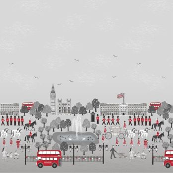 Britannia on Grey Monochrome Scenic Double Border Print Panel London Crown Soldier British Big Ben Bus Landmark Cotton Fabric