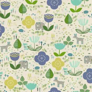 Mori No Tomodachi Ippai Lemon Kawaii Bear Fox Bunny Deer Hedgehog Trees Woodland Cotton Fabric