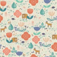 Mori No Tomodachi Ippai Peach Kawaii Bear Fox Bunny Deer Hedgehog Trees Woodland Cotton Fabric