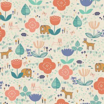 Mori No Tomodachi Ippai Peach Kawaii Bear Fox Bunny Deer Hedgehog Trees Woodland Cotton Fabric