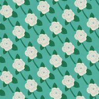 DESTASH 1.1m Kibori Chico Teal Floral Flower Turquoise Japanese Unbleached Cotton Fabric