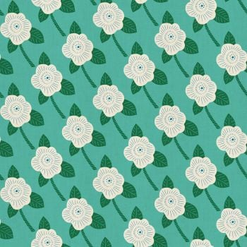 Kibori Chico Teal Floral Flower Turquoise Japanese Unbleached Cotton Fabric