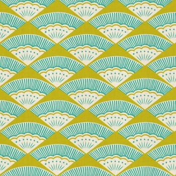 Kibori Ougi Teal Fan Geometric Fans Turquoise Lime Green Japanese Unbleached Cotton Fabric