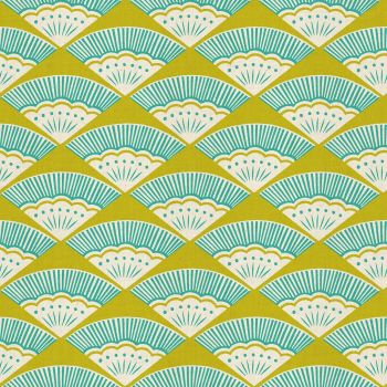 Kibori Ougi Teal Fan Geometric Fans Turquoise Lime Green Japanese Unbleached Cotton Fabric