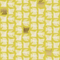 Kibori Paper Birds Citron Gold Metallic Geometric Bird Yellow Lime Green Japanese Unbleached Cotton Fabric