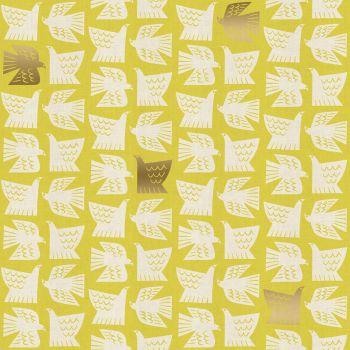 Kibori Paper Birds Citron Gold Metallic Geometric Bird Yellow Lime Green Japanese Unbleached Cotton Fabric