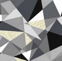Fractured Fog Monochrome Geometric Triangles Metallic Gold Cotton Fabric
