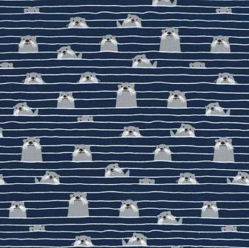Acadia Marine Otter Assembly Navy Otters Dark Sea Ocean Cotton Fabric