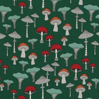 Forest Gifts Champignons Juniper Mushroom Toadstool Mushrooms Funghi  Botanical Green Cotton Fabric