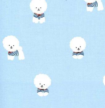 Bichon Frise Sailor Blue Dog Kawaii Dogs Michael Miller Puppy Cotton Fabric