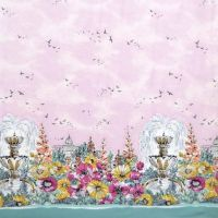 Weekend Getaway Blossom Michael Miller Garden Pink Border Print Floral City Panel Selvedge Cotton Fabric for Dressmaking