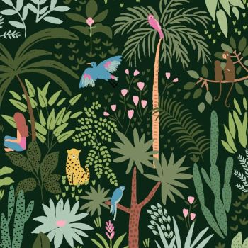 Paradise City Shangri La Evergreen Jungle Foliage Tropical Flamingo Tiger Oasis Travel Adventure Dear Stella Cotton Fabric