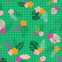 Tropical Jammin' Flowers Floral Hibiscus Green Graph Paper Grid Cotton Fabric