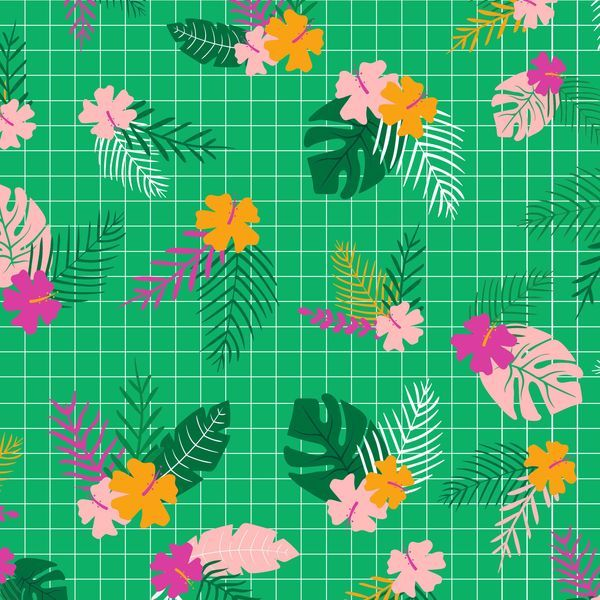 Tropical Jammin' Flowers Floral Hibiscus Green Graph Paper Grid Cotton Fabr