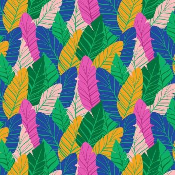 Tropical Jammin' Leaves Packed Banana Leaf Botanical Cotton Fabric
