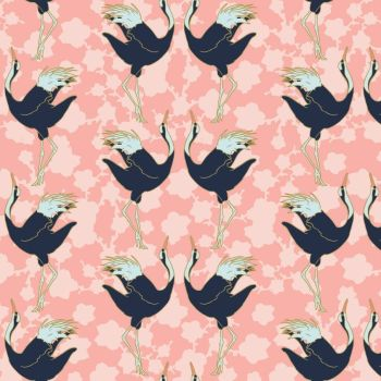 Mystic Cranes Dancing Cranes Pink Bird Crane Metallic Gold Cotton Fabric