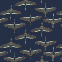 Mystic Cranes Flying Cranes Navy Bird Flight Crane Metallic Gold Cotton Fabric