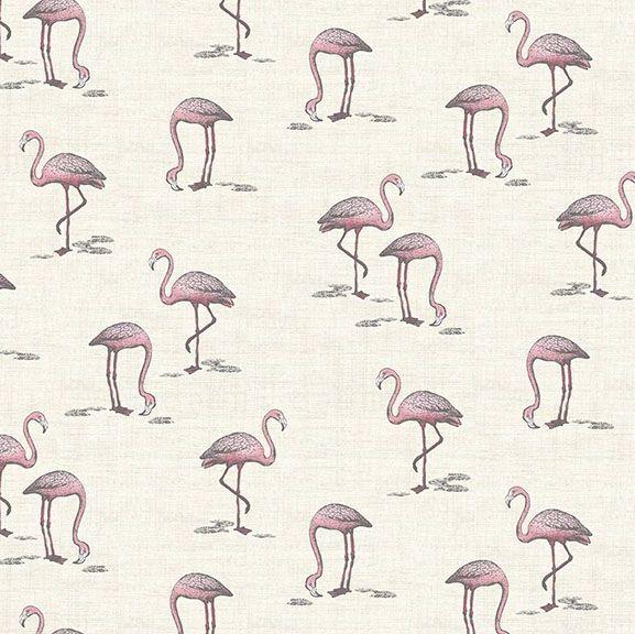 Flamingos Fern Garden Flamingo Cream Bird Tropical Cotton Fabric