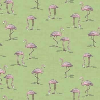 Flamingos Fern Garden Flamingo Green Bird Tropical Cotton Fabric