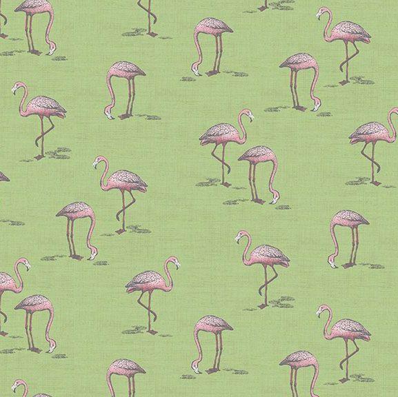 Flamingos Fern Garden Flamingo Green Bird Tropical Cotton Fabric