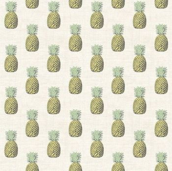 Pineapples Fern Garden Pineapple Cream Fruit Tropical Cotton Fabric