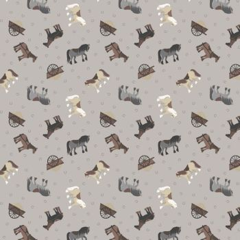 REMNANT 51cm Tiny Horses on Grey Horseshoe Small Things On The Farm Horse Animal Cotton Fabric
