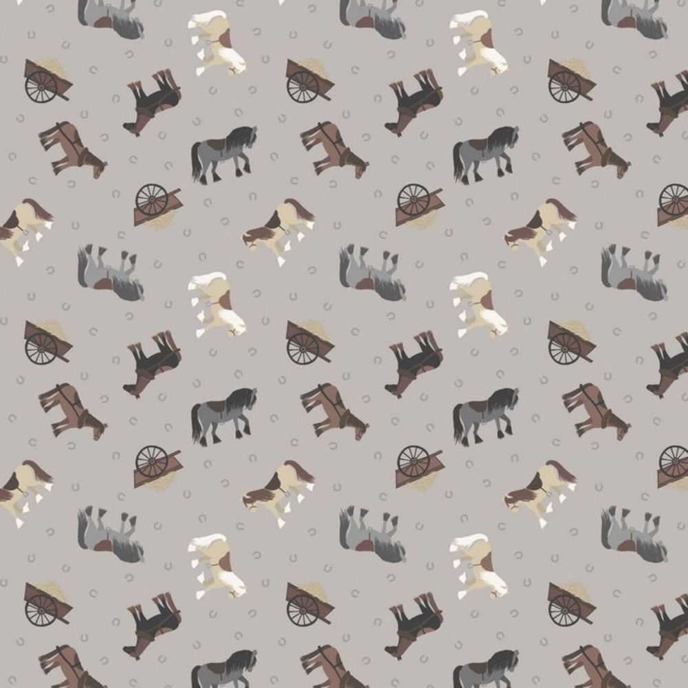 REMNANT 49cm Tiny Horses on Grey Horseshoe Small Things On The Farm Horse A